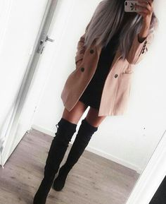 Black Dress With A Pink Trench Coat And Black Knee High Heels