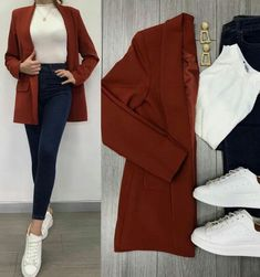 Savior Blazer Tile and High Waist Jeans ♥ ️ Lined Blazer TL . - Savior Blazer Tile and High Waist Jeans ♥ ️ Lined Blazer TL . Casual Work Outfits, Blazer Outfits, Mode Outfits, Classy Outfits, Chic Outfits, Trendy Outfits, Fall Outfits, Look Fashion, Hijab Fashion