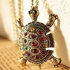 European and American vintage jewelry inlaid diamond cute little turtle sweater chain necklace N64 – USD $ 0.97