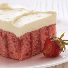 Strawberry Cake: Waiting for this creamy Strawberry Cake to cool and set in the fridge may seem like pure torture. But we assure you, it's worth it!