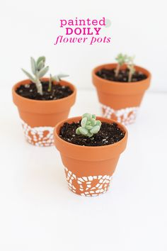 DIY: painted doily flower pots