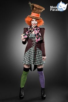 Kostüm Hutmacher Girl Süßes Fasching Karneval Damen Verkleidung Halloween NEU