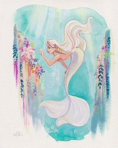 Exploring the Sea Paper Giclee Elegance Velvet Archival Fine Art Paper Print SIZE 8 x 10 in. Signed by me, the artist Watermark not on actual print Packages will ship either First Class or Priority This print will come protected in a photo mailer Mermaid Artwork, Mermaid Drawings, Art Drawings, Mermaid Paintings, Mermaid Tattoos, Disney Kunst, Art Disney, Films Disney, Fantasy Kunst