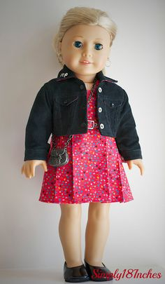 American Girl  Doll Clothing. Sleeveless Cotton dress and Corduroy Crop Jacket ensemble by Simply18Inches.