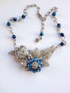 Vintage rhinestone floral collage necklace by ChicMaddiesBoutique