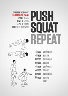 Push Squat Repeat Workout Work both the lower body and upper body Fitness Workouts, Fitness Gym, Physical Fitness, At Home Workouts, Fitness Memes, Funny Fitness, Fitness Nutrition, Fitness Motivation, Neila Rey Workout