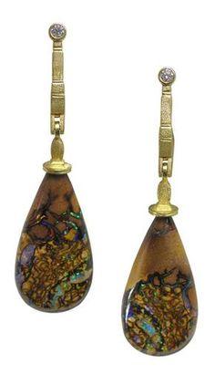 "Alex Sepkus ""Sticks & Stones"" Earrings, 18KY, Australian Matrix Boulder Opal drops, Diamonds"