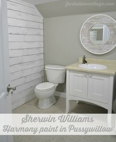 Love this bathroom!!! Sherwin-Williams Harmony Paint in Pussywillow | #SWRenew #ad Fox Hollow Cottage paint color