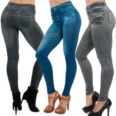 JEANS JEGGINGS STRETCHY LEGGINGS JEANS JEGGINGS PANTALON DENIM FEMME @ VOVA