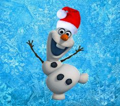 Snowman Olaf Wallpaper Christmas Santa Hat Winter Snowflakes