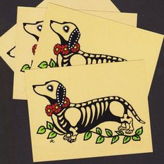 Day of the Dead Postcards Dog DACHSHUND Skeleton Pets - Set of 4 - Donation to Austin Pets Alive by illustratedink on Etsy https://www.etsy.com/listing/164745808/day-of-the-dead-postcards-dog-dachshund