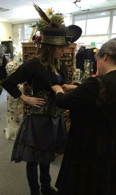 Fitting for a Steampunk wedding outfits by The Alley