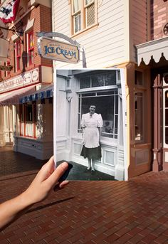 What an amazing shot! A #Disneyland photographer, using a discovered photo from 1960, was able to find the exact spot where it was taken in the park still unchanged. The location of the original photo was the front window at a shop that is now Gibson Girl Ice Cream.  Photo Courtesy of #Disney Parks Blog