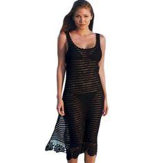 d2bcca60fb0a9 New Arrivals Sexy Beach Cover up Crochet Black Swimwear Dress Ladies Tunics  for Beach Women Beachwear Saida de Praia