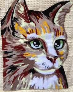 British Made Punch Needle Embroidery Large Cat by WebsterPunch