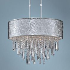 """Maxim Rapture 21"""" Wide White and Satin Nickel Pendant Light -  19"""" high.  21"""" wide by 19"""" high"""