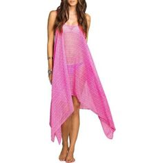 ca8aa42b4c5a Details about O Neill Swim Cover Up Sz M Pink Mindy Sheer Assymetrical Swimwear  Cover 15416043