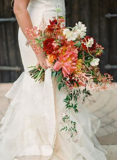 Vera Wang Lillian dress gown frou frou silk ribbon wedding bouquet bridal session portraits coral peonies Photo by Charla Storey