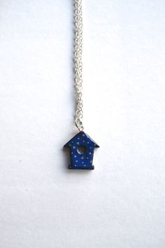 Blue bird house necklace birdhouse pendant painted by WishlistArt