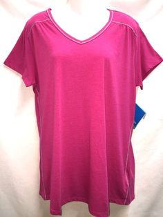 Columbia Women's Everything She Needs V Neck T Shirt XL Pink NEw #Columbia #VNeckTShirt