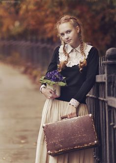 Autumn, colour, winter, suitcase, long skirt, jumper, flowers, plaited hair, ginger, red head, style