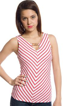 cd659e3dce7 Date with Diagonals Sleeveless Striped Top - Red from Line Up at Lucky 21