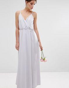 Image 4 of ASOS WEDDING Crepe Strappy Wrap Maxi Dress