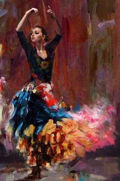 #Flamenco Dancer in Oil Paints. An original painting by Maryam Mughal