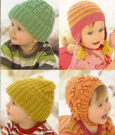 Sirdar Baby & Childrens Hats in DK , Knitting Pattern , 1242 , baby hats and bonnet knitting patter Knitted Hats Kids, Baby Hats Knitting, Knitting For Kids, Kids Hats, Sirdar Knitting Patterns, Knit Patterns, Knitting Supplies, Knitting Projects, Knit Hat Pattern Easy