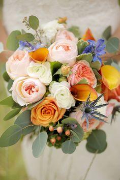 Blush & Orange Bouquet| Navy & Orange Utah Mountain Wedding|Photographer: Pepper Nix Photography