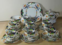 Royal Albert BOGNOR 22 Piece Teaset inc Teapot, 6 Trios, Jug, Bowl & Cake Plate in Pottery, Porcelain & Glass, Porcelain/ China, Royal Albert, Tableware | eBay
