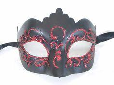 Venetian Masquerade Masks, Mardi Gras, Venice, Carnival, Glitter, Red, Black, Black People, Venetian Masks