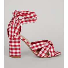 New Look Red Gingham Tie Up Ankle Heeled Sandals (54 AUD) ❤ liked on Polyvore featuring shoes, sandals, red, block heel ankle strap sandals, red heeled sandals, high heeled footwear, open toe high heel sandals and red shoes