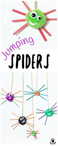 JUMPING SPIDER CRAFT - These are the cutest, bounciest little spiders ever! So quick, easy and cheap for kids to make and play with. A fun Halloween spider craft or for all year round.