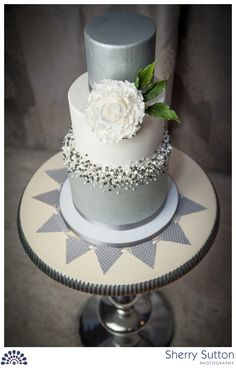 White and grey wedding cake by Cozze Cakes in Nazareth, PA.