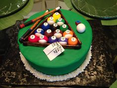 Billiards birthday cake complete with sticks and score sheet