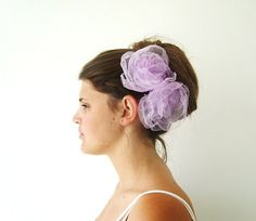 Bridal Hair Clip  Flower  SET OF 2 Sweet Lilac by FairytaleFlower, $28.00