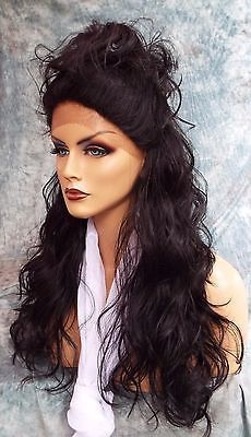 LACE FRONT HAND TIED HEAT FRIENDLY EXQUISITE SENSUAL 1B WIG USA SELLER *474