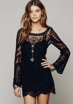 Black Long Sleeve Embroidery Crochet Sheer Shift Dress 18.99
