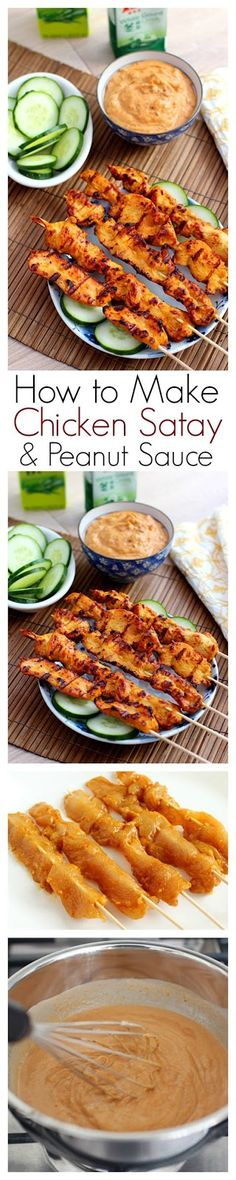 How to make Thai chicken satay & peanut sauce. Ryan won't even know what to do with himself if I make him chicken satay and peanut sauce. Think Food, I Love Food, Asian Recipes, Healthy Recipes, Ethnic Recipes, Asian Foods, Easy Recipes, Tasty, Yummy Food