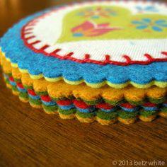 Felt and Fabric Coaster Tutorial - Betz White