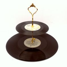 2 Tiered Vintage Record Cake Stand Retro Wedding Party Table Display Cupcakes Centerpiece