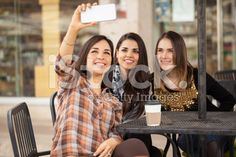 Group of three women taking a selfie royalty-free stock photo