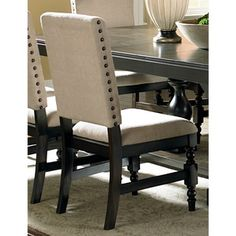 Loraine Beige Linen Nail-head Trim Side Chairs (Set of 2) | Overstock™ Shopping - Great Deals on Dining Chairs
