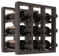 9 Bottle Counter Top/Pantry Wine Rack in Pine, Black Stain + Satin Finish - contemporary - wine racks - Wine Racks America