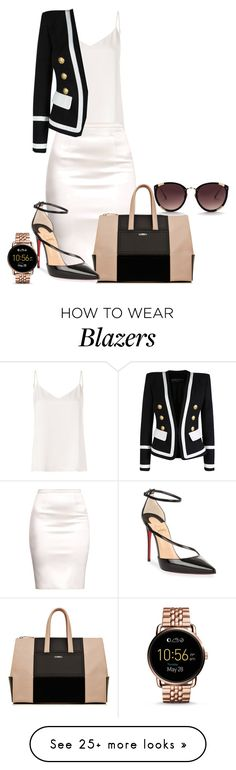 """Untitled #110"" by alesandrap on Polyvore featuring L'Agence, Balmain, La Perla, Christian Louboutin and FOSSIL"