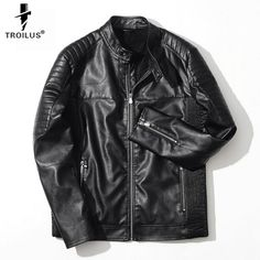 9e9597ff8c80b0 Aliexpress.com   Buy Troilus Motorcycle PU Leather Jacket Men Autumn Winter  Jaqueta Masculinas Stand Collar Coat Casual Leather Jackets Veste Homme  from ...