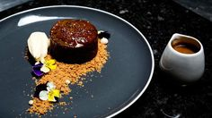 Sticky Date Pudding with Salted Bourbon Butterscotch Sauce - Masterchef Australia Sticky Toffee Pudding, Butterscotch Sauce Recipes, Masterchef Recipes, Cinnamon Crumble, Masterchef Australia, Dessert Spoons, Plated Desserts, Tray Bakes, Food Processor Recipes