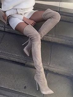 Fashionable over the knee boots for the modern women.You need this wide calf over the knee boots or even lace up over the knee boots. Click above link to see more --- Latest trend in over the knee sexy boots Stiletto Boots, High Heel Boots, Heeled Boots, Thigh High Boots Dress, Pink Knee High Boots, Nude Boots, Beige Boots, Thigh High Heels, Flat Boots