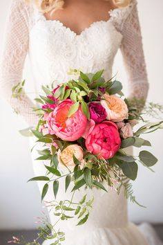 Bright pink and peach peony bouquet